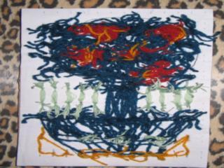 Мастер-класс, Поделка, изделие Торцевание: Картина из ниток без клея